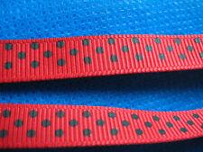"10y 3/8"" Polka Dot Grosgrain Ribbon Hair bow-Red/Black RB054"
