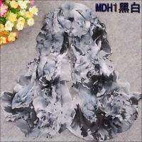 Women's Chiffon Georgette black White Floral Long Silk Shawl Wraps Scarf