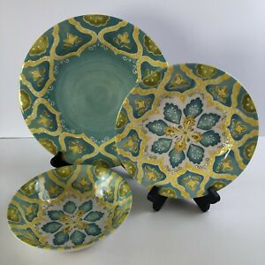 Laurie Gates Melamine Dish Set of 12 - 4 Colored Patterns One Flawed Plate