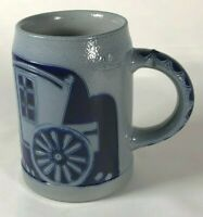 "Stoneware Salt Glaze Pottery 4"" Mug - Carriage Pulled by Horses With Rider- EUC"