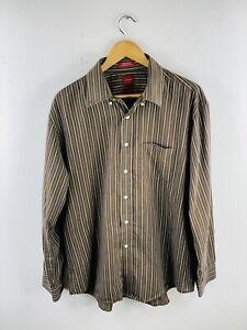 Arrow USA Men's Long Sleeve Shirt Size L Brown Striped Button Up Collar Pockets