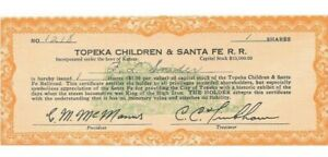 TOPEKA CHILDREN & SANTA FE RAILROAD UNC CAPITAL STOCK!  c645DTH