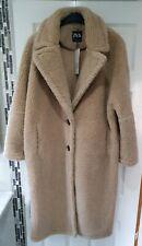 🖤 ZARA Faux Shearling Coat Uk Size Medium M Oversized Beige Sherpa Teddy long