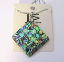Fashion Necklace & Pendant--DIAMOND shape inlaid abalone shell-  silver tone