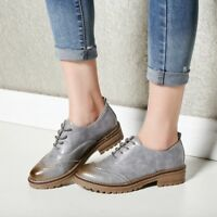 Women Oxford Vintage Loafers Gradient PU Flat Low Heel Round Toe Fashion Shoes
