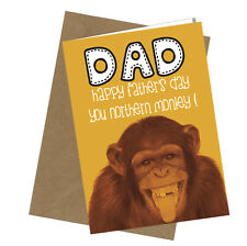 Greetings Card Northern Monkey Comedy Rude Funny Humour Fathers Day Card #201