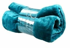 Teal - Sea Blue Soft Faux Fur Mink Throw Sofa Bed Blanket - XL (200x240cm)