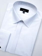 Mens White Wedding Prom Dinner Luxury Cotton Double Cuff Formal Shirt