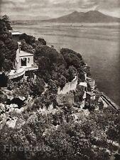 1925 Original ITALY Photo Gravure NAPLES House Seascape Mountain Art ~ HIELSCHER