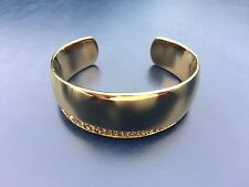 100% Authentic DKNY Gold Tone Crystals Rhinestones Paved Cuff Bracelet