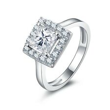 1.25CT Princess Cut Accent Diamond Engagement Ring 14k White Gold Toned Size 4.5