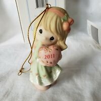 Precious Moments Ornament  Blond Girl With a Heart dated 2011 Christmas Holiday