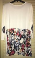 Cool Melon Size 1XL White 3/4 Sleeve Tunic With Floral Back & Elbow Patches