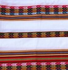 Peru Tischdecke weiß bunt, Anden Inka Tragetuch Manta, doppelt groß 120 x 220 cm