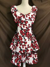 Hot Topic Corset Lace Up Dress Size XL Red Rose Swing Rockabilly NEW