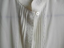 Work Professional High Quality Off White Embroidery Dress SHIRT Long Sleeve NICE