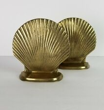 Mid Century Brass Bookends Sea Shells Vtg Beach Cottage Decor Gold