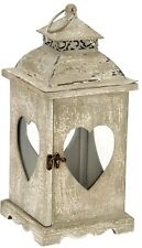 Vintage Retro Shabby Chic Grey Finish Wooden Heart Lantern 40cm Candle Holder