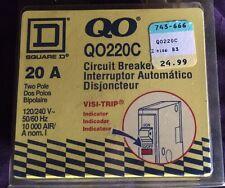 Square D QO220C Circuit Breaker  Interruptor 20 AMP 2 Pole