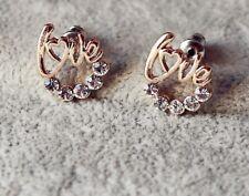 1 Pair Love earrings Gold Tone Heart & Text Ear Rings Stud Valentines UK ER71