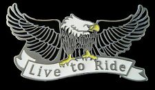 LIVE TO RIDE BALD FLYING EAGLE COOL BELT BUCKLE BOUCLE DE CEINTURE AIGLE
