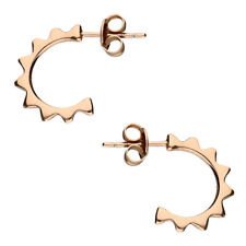 Rose Gold-Plated 925 Sterling Silver Half Hoop Sun Design Stud Earrings