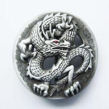 Asian Dragon Red Rhinestone Eye Metal Fashion Belt Buckle