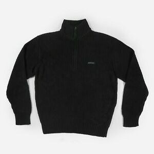 Dickies Knit Jumper Half Zip Pullover Sweater Workwear Logo Black Men's Large