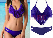 Space Dolly Fringe~Audrey Halter Bikini~Purple~Size M~Padded~Top Melon