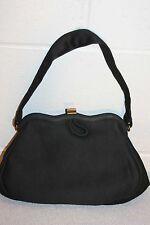 BLACK WOOL KNIT Vintage 40s 50s SWING Princess HandBAG PURSE Pin Up Dress Bag