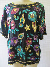 ROYAL FLORAL PRINT SHORT SLEEVE SEQUIN EVENING TOP SIZE M