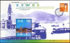 HONG KONG QEII CHINA 1997 STAMP SHOW #4 S/S SC.#776a CV$8 MNH SHIPS, CLOCK TOWER