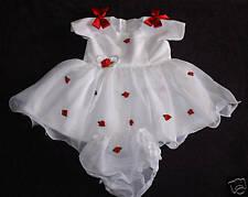 Polyester Dress - (Handmade) White w/red flowers- Short Sleeve