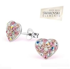 Beautiful Sterling Silver Swarovski® Elements Heart Earrings Pair Ladiess Boxed