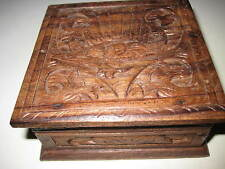 "Original Vintage Wooden CARVED STASH BOX Hinged 3.75X4X1.75""  209"