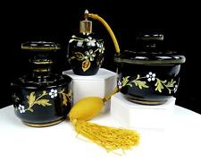 AUSTRIAN ART GLASS BLACK AMETHYST WHITE AND GOLD ENAMEL FLORAL 3 PC DRESSER SET