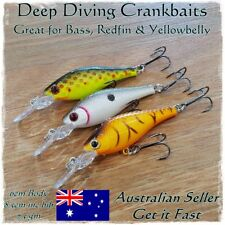 3pk Redfin & Bass Fishing Lures, Yellowbelly, Trout, Flathead, Cod, Perch, Bream