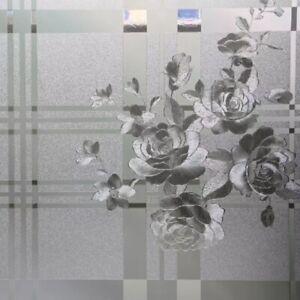 """Big Peony No Glue Static Decorative Privacy Window Films for Glass 17.7""""x78.7"""""""