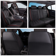 Deluxe Edition Seat Cover Full Set PU Leather Black Universal Fit For 5-Seat Car