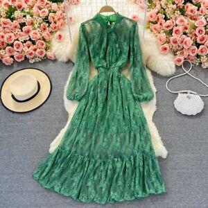 Women Lace Mesh Dress Sheer Fairy Puff Sleeve  Floral Midi A-line Retro