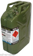20L METAL JERRY CAN - ARMY GREEN, AUSTRALIAN STANDARDS AS2906 + U.N. APPROVED