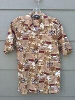 Royal Creations Man Shirt Sz S Hawaiian Brown Casual Aloha Palm Beach Pineapple