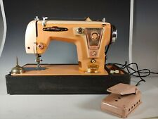 Vintage Deluxe Precision Pink Peach Sewing Machine Japan Made 50's & Case