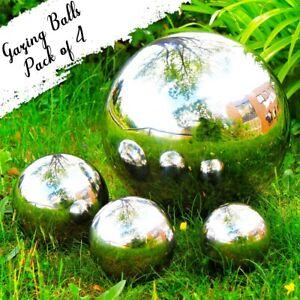 Gazing Balls Mirror Garden Spheres Set of 4 Silver Stainless Steel Gazing Balls