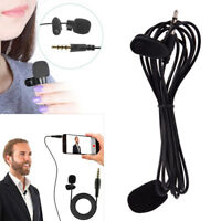 Clip On Lapel Microphone Hands Free Wired Condenser Mini Lavalier Mic 3.5mmD UR