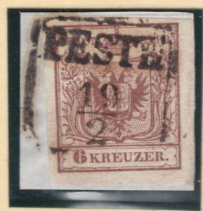 Ö 1850 ANK 4 die 6 Kreuzer breitrandig sauber gestempelt