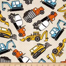 "Fabric Construction Digging Machines & Trucks on Cream Flannel 12"""