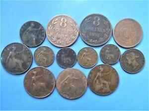 13 vieilles pièces de monnaie Angleterre - Guernesey - Jersey - Malaisie... A vo