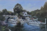 """Chris Tyrell Lovely 20th Century Watercolour """"Boulters Lock"""" River Thames"""