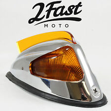 Honda Fender Marker Light w/ Fin Chrome Amber Motorcycle Cruiser Chopper Bobber